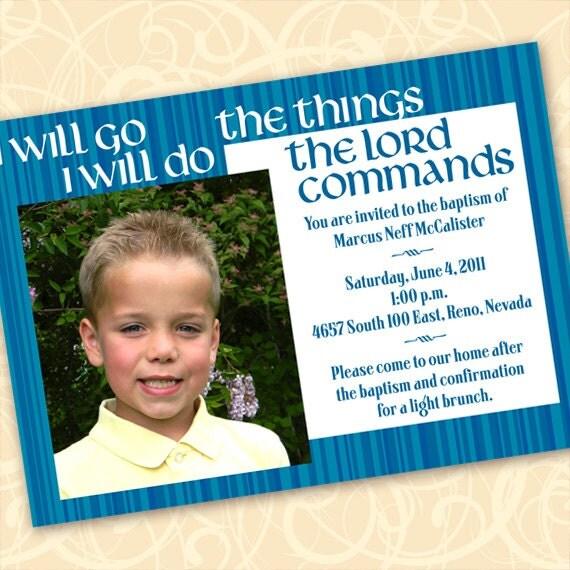 baptism invitation, blue striped baptism announcement, LDS baptism invitation, blue and white graduation, religious graduation