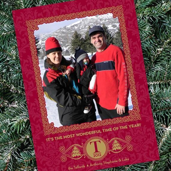 Christmas cards, red damask Christmas card, monogram Christmas card, red and gold Christmas card, gold Christmas, CC004