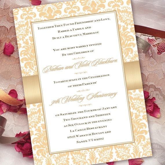 50th wedding invitation, 50th wedding anniversary, champagne 50th wedding, gold 50th anniversary invitation, golden anniversary