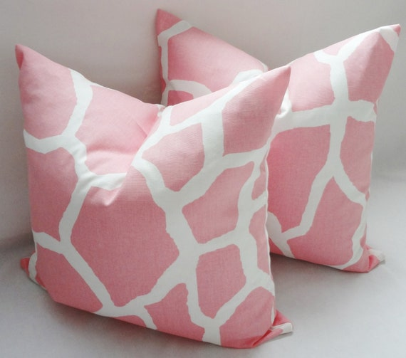 Pink & White Giraffe Nursery Baby Girl Pillow Covers Throw Pillows Decorative 18x18