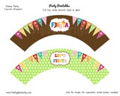 Fiesta Party - Cupcake Wrappers - DIY Party Printables - INSTANT DOWNLOAD and Print