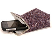 Smartphone Case Fabric with pocket inside - Cigarette Case Fabric - Purple with Little Flowers 100% cotton - Silver Frame