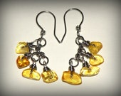 Baltic amber and stainless steel earrings