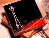 Bamboo Block, Space Travel , night, city, urban, space needle, neon, lights, wall art, photography, print , seattle, iconic, landmark , NW
