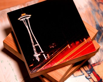Bamboo Block, Space Travel , night, city, urban, space needle, neon, lights, wall art, photography, print , seattle, iconic, landmark , NW