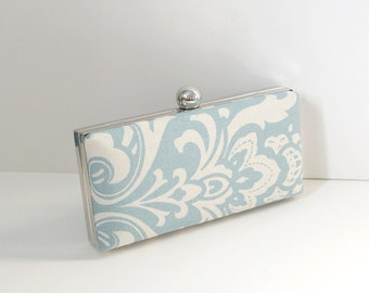 Chic Ice Blue Clamshell Clutch Purse