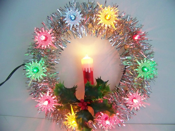 Vintage Candle Wreath Christmas Tree Topper With Lights