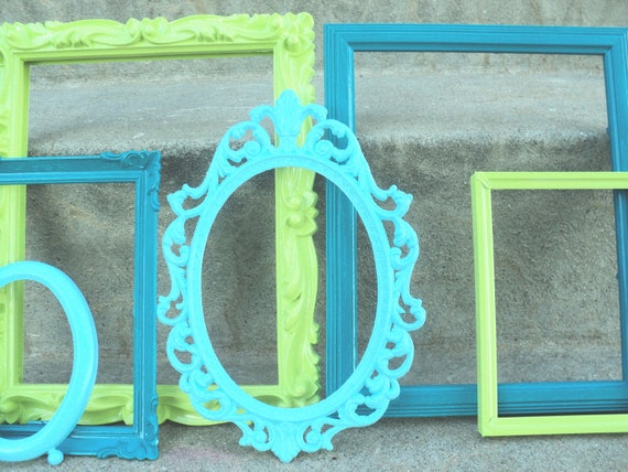 Reserved for Loreleigh Blues and Lime Picture Frame Set Ornate