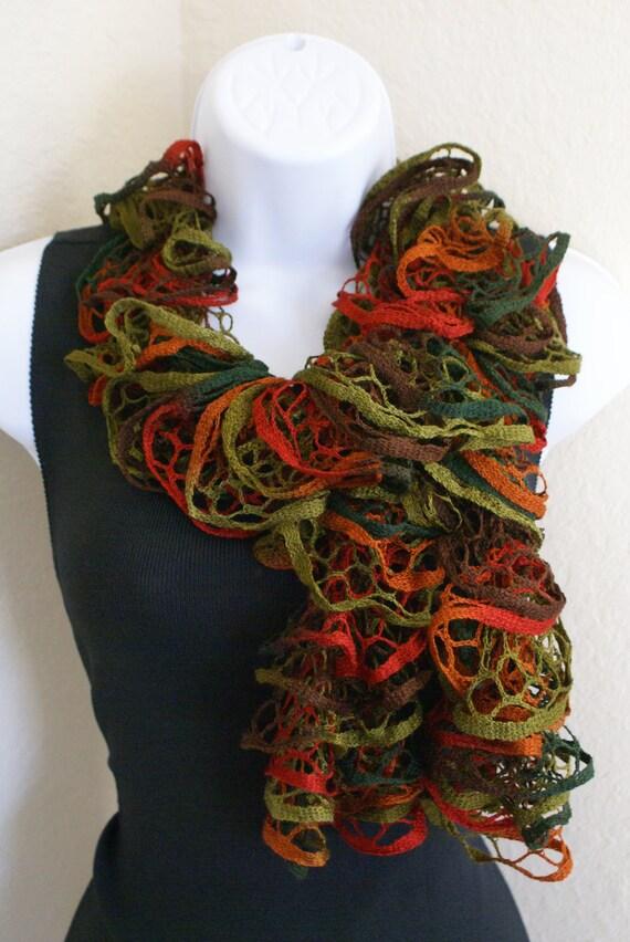 Ruffle lace soft scarf handknitting  autumn multicolored
