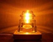 VINTAGE INSULATOR  LIGHT - Perfect for Romance //Railroad Utility Glass Insulator Lamp / Mood Lighting