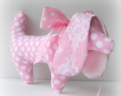 Dachshund Stuffed Toy Dog with Pink Polka Dots