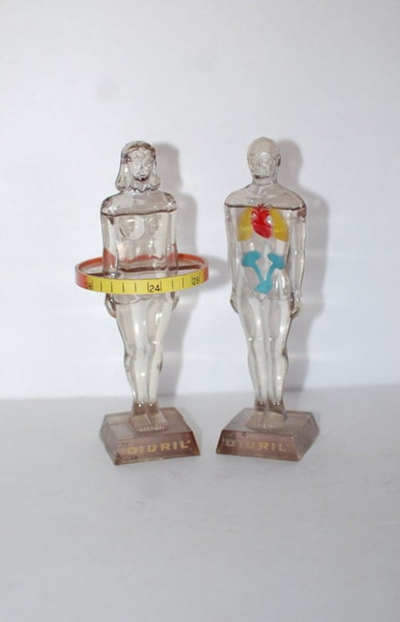 Vintage Medical Anatomy Pharmaceutical Models Male and Female Statue 1960's