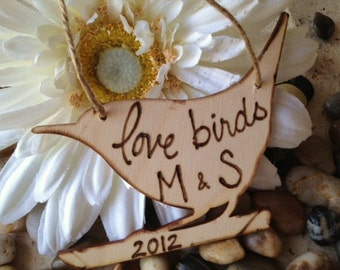 Rustic Valentine's Day Ornament for the Love Birds Newlyweds Bride Groom Holiday Gift Tag Personalized with Your Carved Initials and 2012