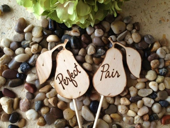 Perfect Pair Wedding Cake Toppers for Country Chic Wedding or Anniversary - Bridal Shower Decoration - Photo Props