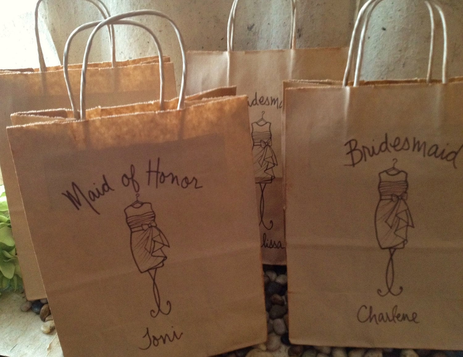 Set of 5 personalized gift bags wedding favor bags for your for Wedding favor gift bags
