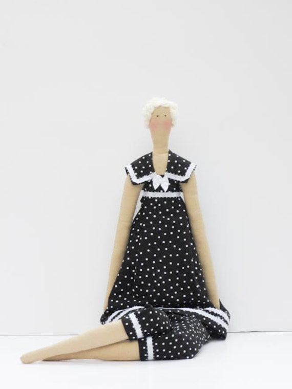 Fabric doll in a classic black white polka dot dress,blonde cloth doll,art doll -cute stuffed doll collectible rag doll - gift for girls