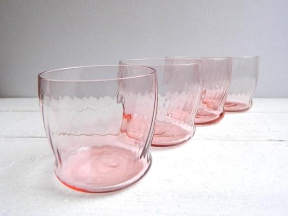 Vintage Federal Pink Swirl Water Glasses Depression Glass - Set of 4
