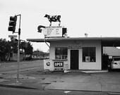 Drive-Thru Dairy Roadside Store, Fine Art Photography Giclee Print, Black & White Urban Decor