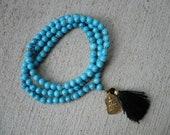Unisex Turquoise Howlite Mala