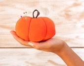 "Handmade Fabric Pumpkin, Halloween Decor, Pincushion, 4 x 2""  , 10 x 6 cm)"