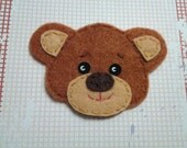 1pc - Brown Bear Head Felt Applique - 70 x 48mm - made to order
