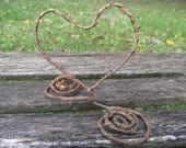 Rustic Heart Cake Topper, Whimsical Wedding Decoration. Shower, Birthday, Party Decoration. CUSTOM ORDERS WELCOME