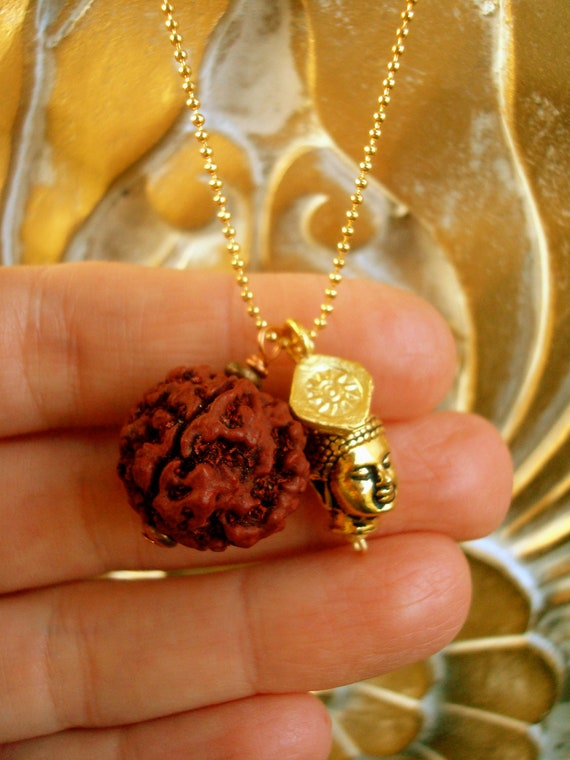 Rudraksha Seed Amp Buddha 22k Gold Necklace By Embracehealing