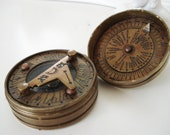 vintage Sun Dial Compass necklace pendant charm finding