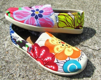 "Hand Painted TOMS Classic Canvas ""Fresh From The Garden: Molly's World"" Custom Slip-Ons"