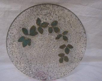 Mid Century 1950s lucite confetti tray foil leaves