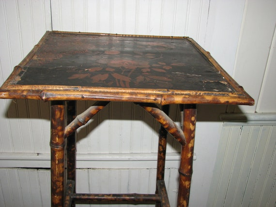 Chinoiserie Victorian Bamboo Side Table with Black Lacquer Hand Painted Top