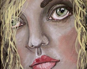 "Folk Art Woman Portrait Print of Original Painting ""She"" by Lore"