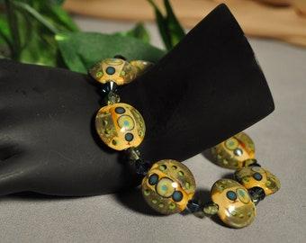 LAMPWORK glass Lentil shape bead bracelet-Deco Circles