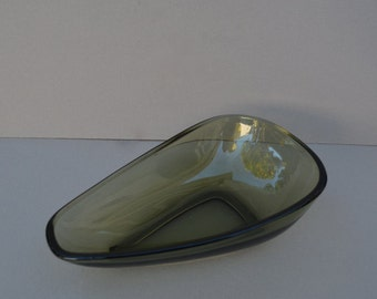 Contemporary and Modern Green Glass Dish 1960's