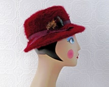 Burgundy Fedora Hat, Fur Winter Hat, Angora, Wine and Feathers, made in England, Vintage
