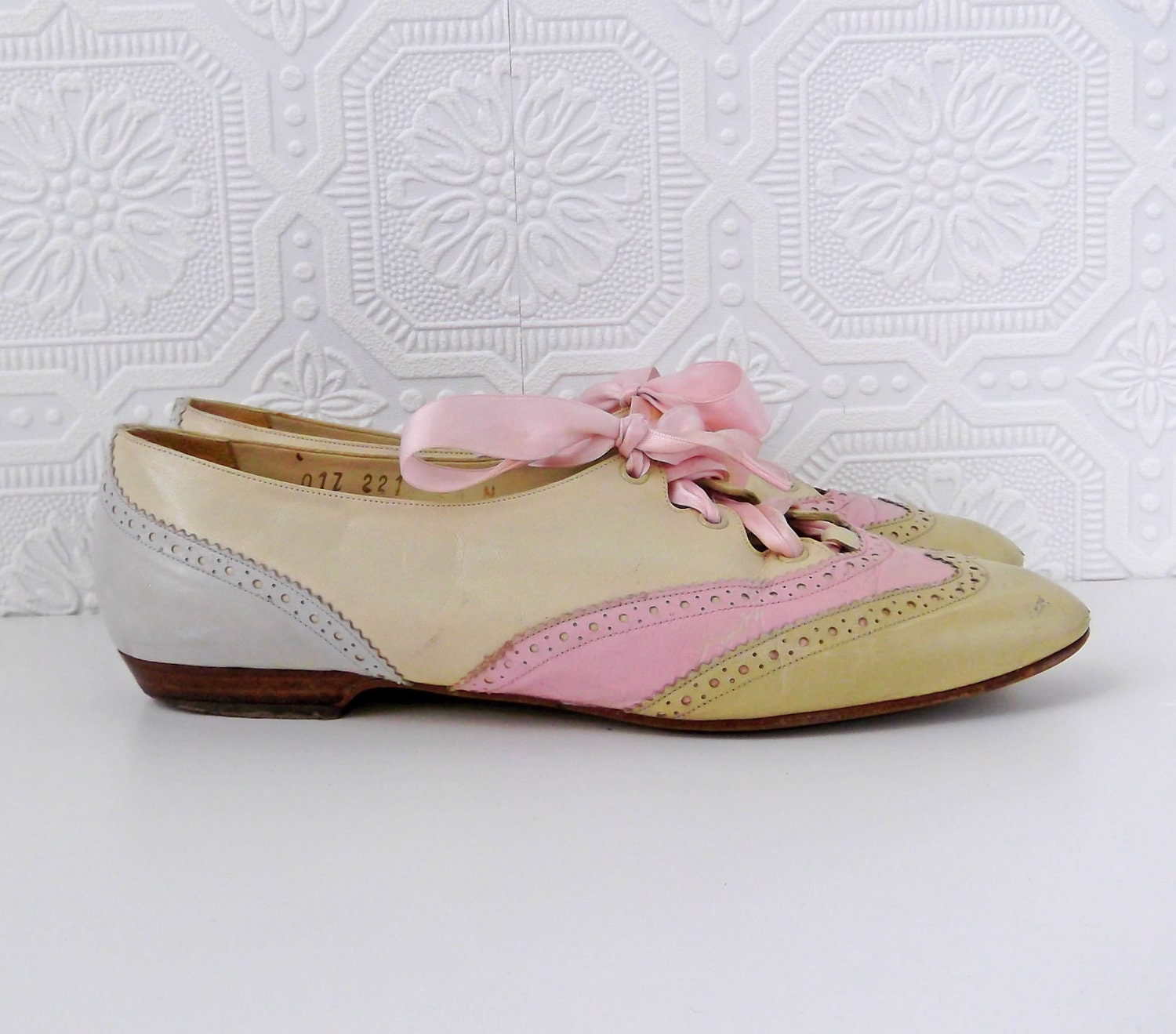 oxford shoes colorblock jazz shoes pastel pink and blue by