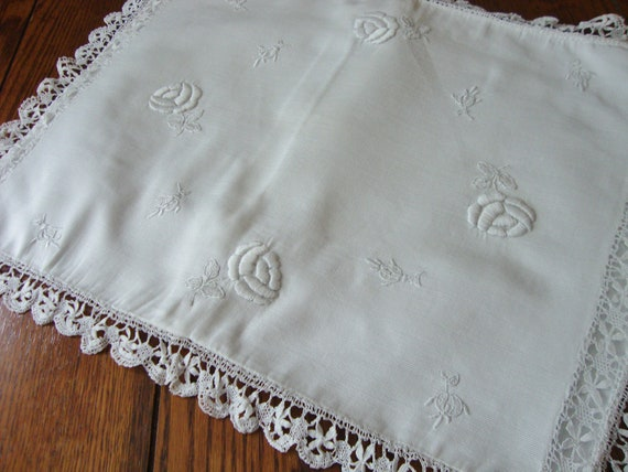 White Pillow Sham with White Hand Embroidery and Hand Crochet Trim Vintage