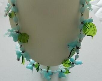 Vintage Necklace Venetian Murano Blue Glass Birds Green Leaves  - STUNNING