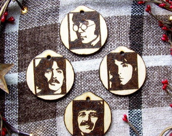 Beatles Christmas Ornaments, Set of 4 Rustic Wooden Holiday Gifts under 50 John Lennon Paul McCartney George Harrison Ringo Starr Beetles
