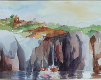 Cliffs from Sesimbra 2 Original Landscape Painting