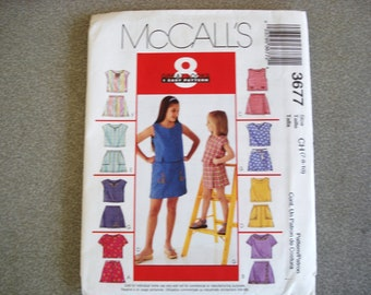 MCCALL 8 GREAT LOOKS Girl's Summer Outfits Pattern 3677 Sizes 7 8 And 10.
