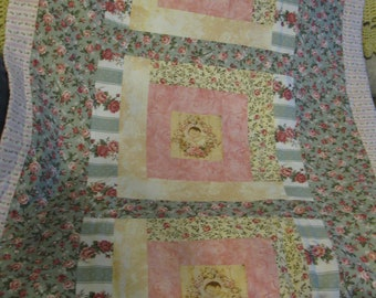 Beautiful Rose and Baby Face Baby Quilt