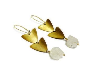 Herkimer Diamond Earrings - Herkimer Diamond Jewelry - Triangle Gold Modern Geometric Earrings - Jewelry Hipster Fashion