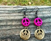 Peace Sign Earrings, Hippie Earrings, Bronze Peace Sign Charms