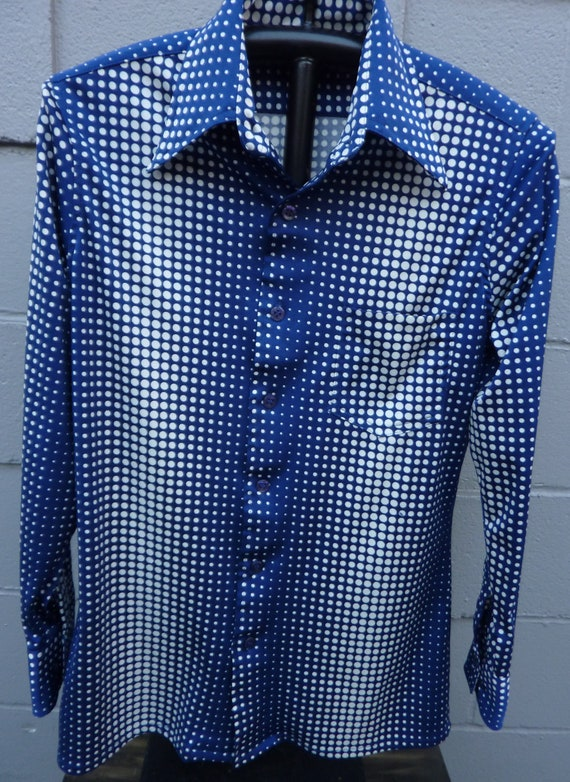 Vintage Polka Dot Men's Shirt Blue and White by TrumpVintage