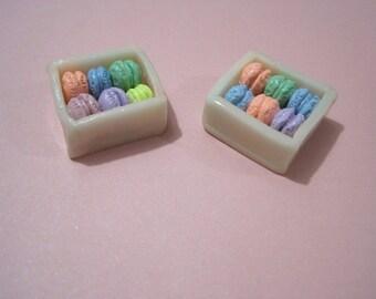 Polymer Clay Box of Tiny Macaron - set of 2