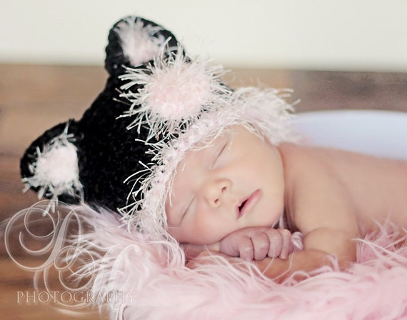 Baby Black Cat Hat, Baby Girl Cat Hat, Kitten Beanie Hat, 3 to 6 Month Halloween Costume
