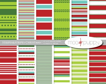 Digital Paper Pack -    Stripes&Stripes Christmas  -- INSTANT DOWNLOAD