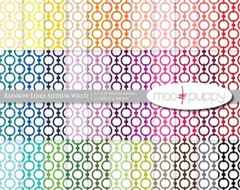 Digital Scrapbook Paper Pack  --  Rainbow Links Medium White -- INSTANT DOWNLOAD