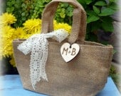 Burlap and Lace Bag Flower Girl Basket Rustic Wedding Decor Personalized Wood Heart Charm